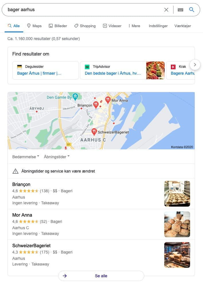 lokal seo map resultat