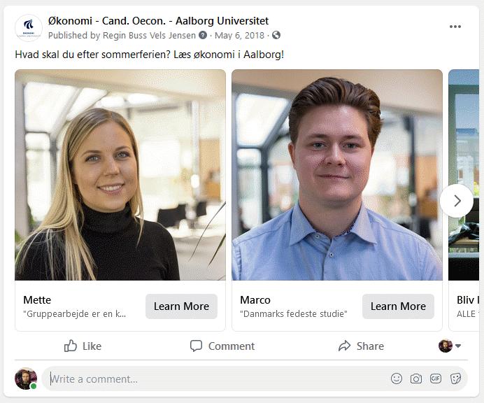 AAU Facebook karrusel annonce